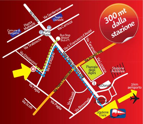 Nella cartina si può vedere come sia l'Ostello di Bergamo più facile da raggiungere e vicino alla stazione
